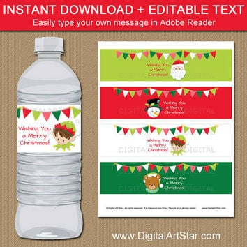 Christmas Water Bottle Labels - Christmas Party Decor - Kids Christmas Bottle Wraps - Kids Christmas Party Favors - Holiday Drink Labels C2