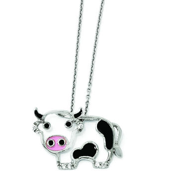 Cheryl M Sterling Silver CZ Enamel Cow 18in. Necklace QCM870