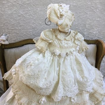 Princess Dee-Victorian christening silk gown-baptism dess with bonnet