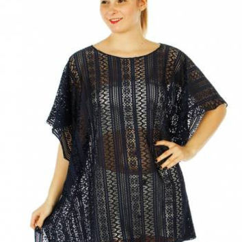 Metallic Cable Knit Aztec Pattern Poncho One Size Fits S-XL in 4 Colors