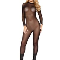 Roma USA Sheer Black Bodystocking