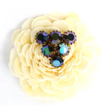 Antique Brooch with Aurora Borealis Beads, lilac, turquoise, bronze