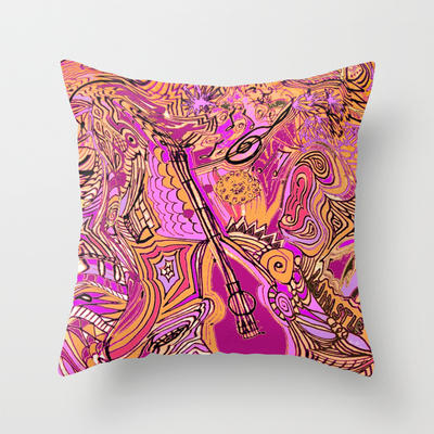 Dance to the Music Throw Pillow by RokinRonda