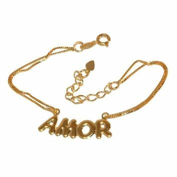 """1-0507-f1 Gold Layered Amor Name Plate Double box link Bracelet, 6.5"""" to 8"""" adjustable length,"""