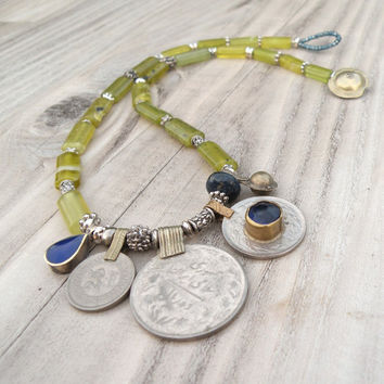 Nomadic Talisman Necklace - Persian Olive - Tribal Gypsy Jewelry, Green and Blue
