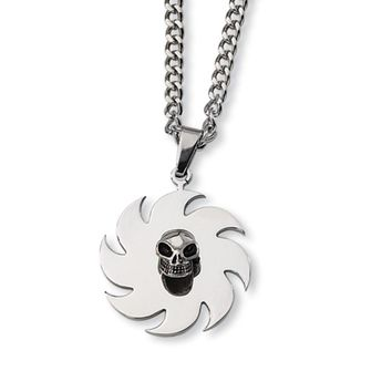 Stainless Steel Saw Blade and Skull Necklace