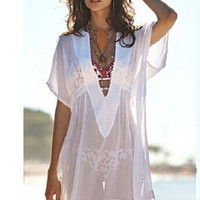 Women's Sexy See-through Beachwear Bikini Smock Sun-proofed Blouse Tops = 1956445700
