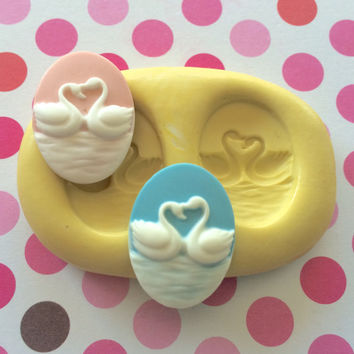 SWANS In LOVE Silicone Mold - Polymer Clay Mold, Resin Mold, Fondant Mod, Candy, Wedding Cake, Cupcake Topper, Swan Soap Mold, Craft DYI