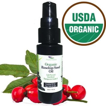 Organic Rosehip Seed Oil - Cold Pressed, Unrefined. Reduce Acne Scars & Improve Skin Texture