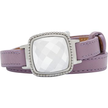 Ela Stainless Steel Cushion Italian Marble Agate Lavender Leather Wrap Bracelet