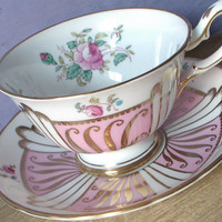 Antique pink and gold tea cup set, vintage Royal Chelsea English tea cup and saucer, hand painted flowers, bone china tea set, art deco cup