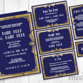 Wedding Invitations Navy & Gold Deco Template 1920's INSTANT DOWNLOAD Gatsby Package Printable Invites Save The Date Personalize Editable