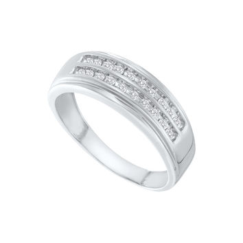 14kt White Gold Mens Round Diamond 2-row Wedding Anniversary Band Ring 1/4 Cttw 66849