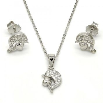 Sterling Silver 10.174.0200 Necklace and Earring, Dolphin and Heart Design, with White Micro Pave, Polished Finish, Rhodium Tone