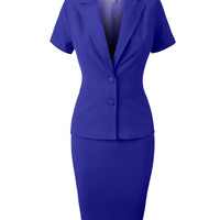Fitted Blazer and Skirt Suit Set (CLEARANCE)
