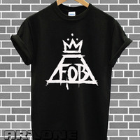 Band Shirt - FOB Shirt Fall Out Boy Logo T-shirt Printed Black and White Color Unisex Size - AR15
