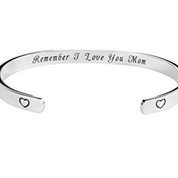 Kendasun Jewelry Remember Mom I Love You Inspirational Bracelet Cuff Bangle for Mother