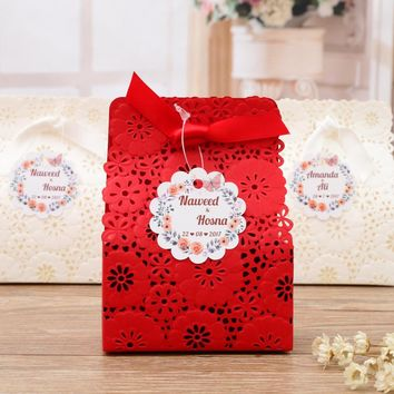 50 pcs White Red Flower Laser Cut Wedding Favor Boxes Wedding Candy Box Wedding Favors And Gifts, CB5191
