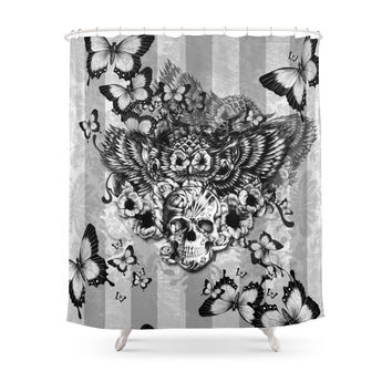 Society6 Lost And Found, Floral Owl With Sugar Skull Shower Curtains