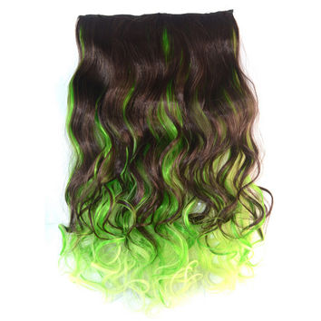 5 Cards Wig Piece Hair Extension Highlights    dark brown bright yellow bleach and dye