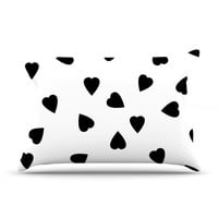 "Suzanne Carter ""Hearts Black"" White Pillow Case"