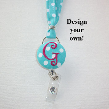 Lanyard ID Badge Holder with detachable reel - NEW THINNER design - Design your own custom monogram polka dots coworker gift