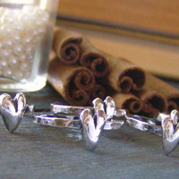 hand sculpted heart fine silver custom single stacking ring