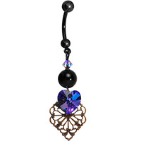 Handcrafted Antique Dark Heart Belly Ring MADE WITH SWAROVSKI ELEMENTS | Body Candy Body Jewelry