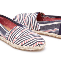 NAVY RED STRIPE ROPE SOLE WOMEN'S CLASSICS