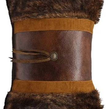 Cowgirl Kim Faux Fur Pillow w/ Concho and Fringe