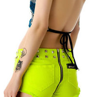 LIP SERVICE MOTO STUDDED SHORTS ZIP AROUND BIKER ROCKABILLY JEANS GOTHIC PANTS