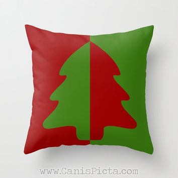 Christmas Tree 16x16 Graphic Print Throw Pillow Cover Couch Art Green Red Evergreen Spruce Holly Berry Ruby Holiday Winter Seasons Modern
