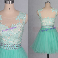 2015 short mint tulle homecoming gowns with rhinestones waist,chic cute dresses for cocktail party,cheap lace prom dress hot.