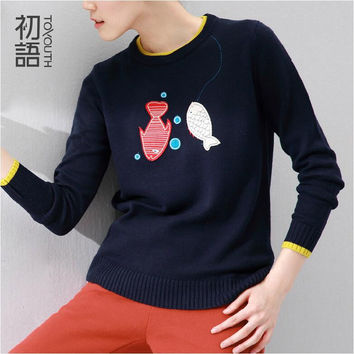 Toyouth Spring Autumn Pullover Female Wool Knitted Sweater Fish Appliques O-neck Pullover Crochet roupas femininas Tops