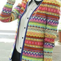 Cute Embroidery Rainbow Knitting Slim Wrap Cardigan from pomelo