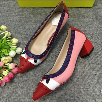Small Monster Multicolor Pointed Shoe Head Rivet Heels Shoes Rough Heel Single Shoes-1