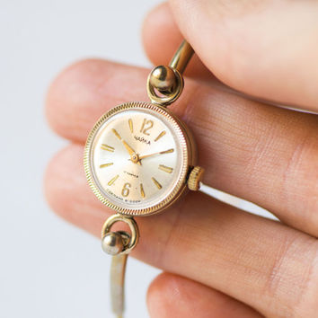 Gold plated watch bracelet Seagull, round lady watch tiny, cocktail wristwatch delicate, unique women watch gift, Soviet fashion watch her