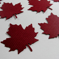 Paper Leaves Autumn Fall Maroon Leaf Leaves Paper Cut Outs Cutouts Scrapbook Embellishments Tags Decorations  Set of 24