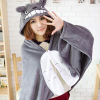 My Neighbor Totoro Lovely Plush Soft Cloak Scarves Shawl Totoro cat cape cloak coral fleece air blanket robe