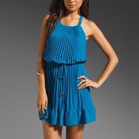 Rebecca Taylor Pleated Silk Dress in Pool from REVOLVEclothing.com
