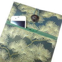 Gorgeous iPad sleeves Kimono iPad 2 cases Retro iPad 4 covers Kimono cotton fabric Pine Woods green