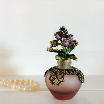 Vintage Perfume Bottle, Antique Bottle, Antique Perfume, Ornate Perfume Bottle, Purple Glass, Jewel Bottle, Vintage Glass, Rhinestone Bottle