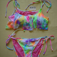 NWT '13 Victoria's Secret Pink Bikini Tankini Top Tie Dye Bottom Swimsuit Set L