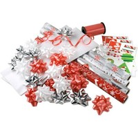 Christmas Red and White Gift Wrap Foil and Paper and Accessories Kit - Walmart.com