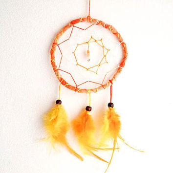 Dream Catcher - Spring Sunshine - With Yellow Citrine Gemstone, Yellow-Orange Feathers and Orange Frame - Home Decor, Mobile