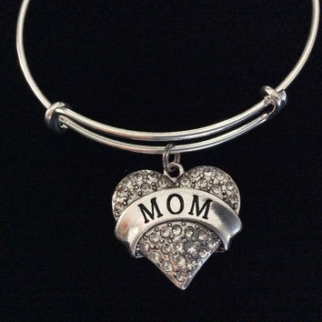 Mom Crystal Heart Expandable Charm Bracelet Adjustable Wire Bangle Gift Trendy Fun Unique Mothers Gift
