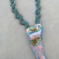 Lampwork Glass and Hemp Macrame Necklace - Natural Hippie Bohemian Woodland Fairie
