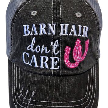 Embroidered Barn Hair Don't Care Distressed Look Grey Trucker Cap Hat Farm
