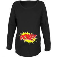 POW Comic Book Super Hero Black Maternity Soft Long Sleeve T-Shirt