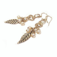 Pearl Earrings Chainmaille Silver Leaf  White Ivory Drop Pearls Winter Holiday Girlfriend Gift Under 30